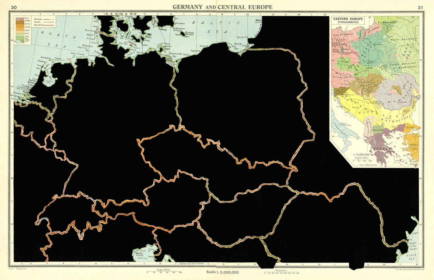 GERMANY AND CENTRAL EUROPE. De la serie: The Comparative Atlas. London 1948. 