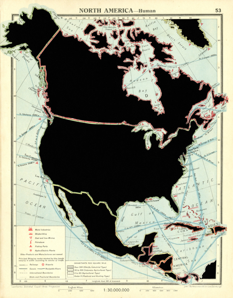 NORTH AMERICA—Human. De la serie: The Comparative Atlas. London 1948.  Páginas de libros recortadas.  27,7 x 21,8 cm. 2017.